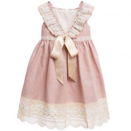 Nanos - Pink Linen Dress with Broderie Anglaise Trim ...