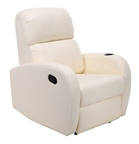 MD Group Single Sofa Chair Manual Recliner PU Leather Beige