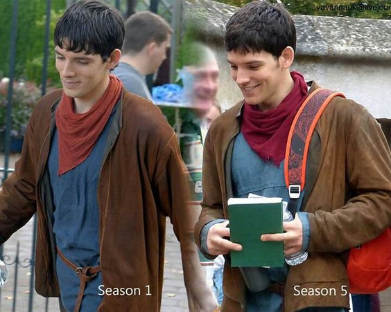 """Season 1 and 5 His clothes finally fit haha"" <---- Well, I thought my clothes were just fine. Thank you very much!"