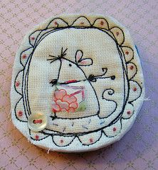 Very cute textile brooch: