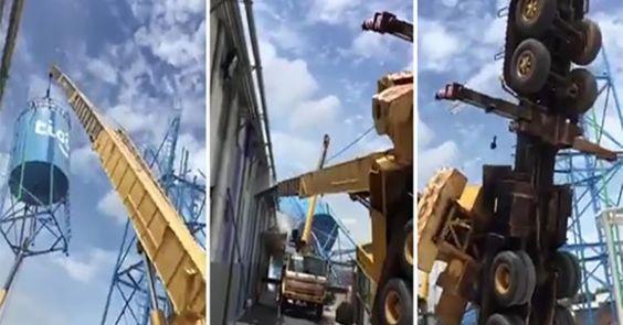 OMG VIDEO NEWS: Δείτε έναν γερανό να αποτυγχάνει παταγωδώς στην μετακίνηση μιας δεξαμενής νερού (Video)