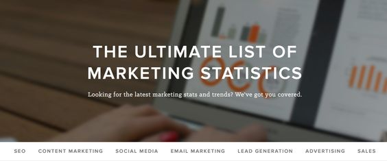 Quite useful collection of all marketing statistics organized by category.   By Hubspot.  P.S.: Lack of links to the original sources (but not for the publisher ones) make this a much less valuable and credible resource than it could have been).