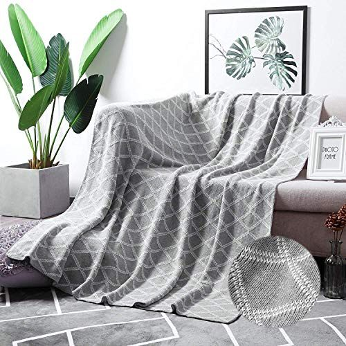 Moma 100 Cotton Light Grey Cable Knit Throw Blanket For Couch Bed Sofa Chair Gray White Stripe Reversible Decorative Knitted Blankets 51 X 63 Size In 2020 Cable Knit Throw Blanket Cotton Throw