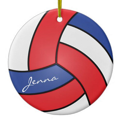 Red White And Blue Volleyball Diy Name Ceramic Ornament Zazzle Com Ceramic Ornaments Diy Christmas Themes