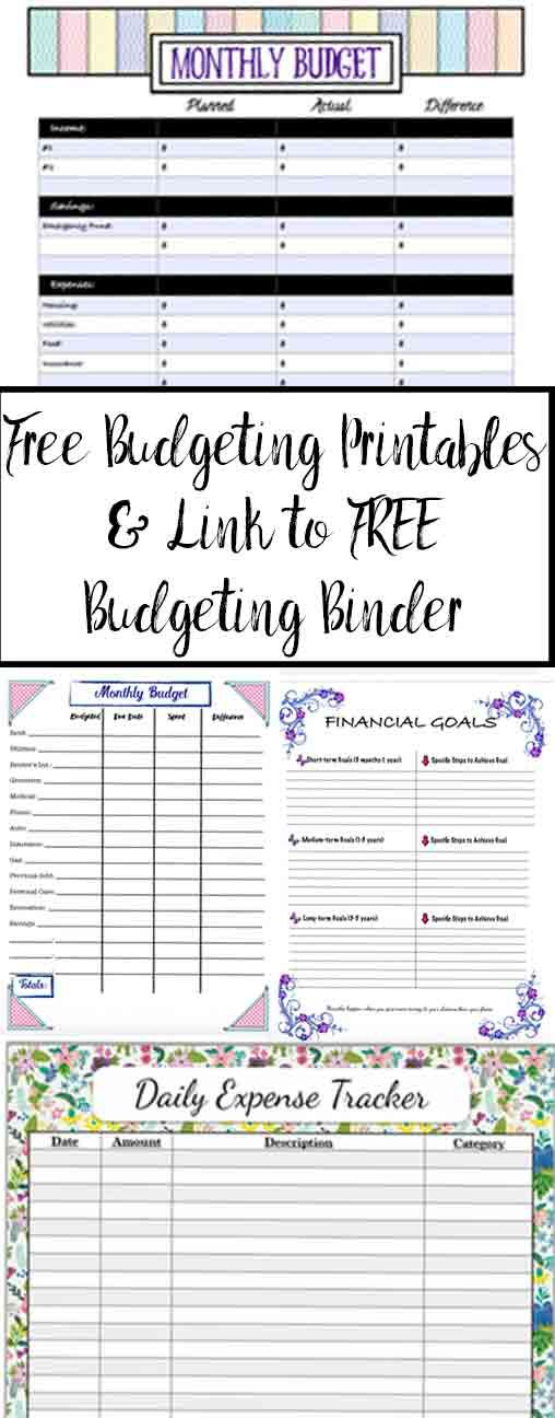 Free Budgeting Printables Expenses Goals Monthly Budget Budget Printables Free Budget Printables Monthly Budget