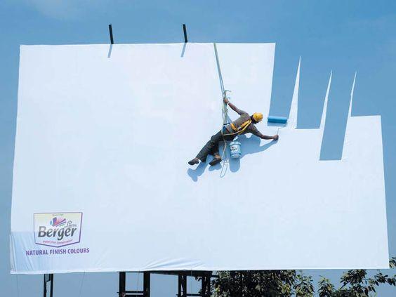creative funny billboards (10): Creative Billboard, Outdoor Advertising, Berger Paint, Billboard Design, Billboard Advertisement, Optical Illusion