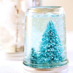 Make your own snow globes using mason jars.