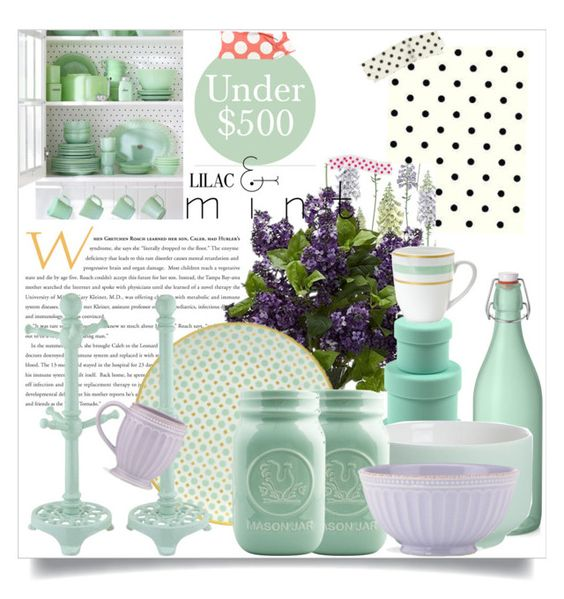 """Kitchen Under $500 #3"" by orietta-rose ❤ liked on Polyvore featuring interior, interiors, interior design, home, home decor, interior decorating, Bormioli Rocco, CB2, 10 Strawberry Street and Dot & Bo"