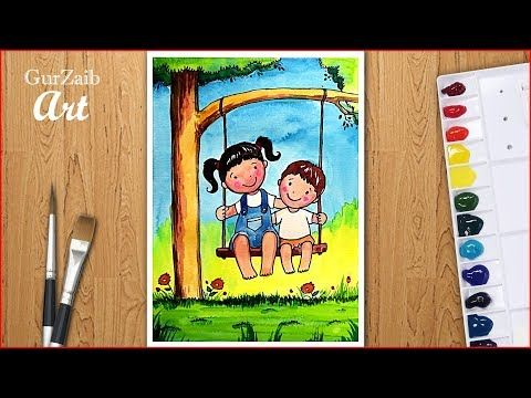 How To Draw Brother And Sister Drawing For Beginners Very Easy