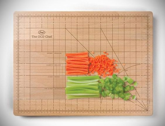 OCD Chopping Board - hah! I can think of someone this would be perfect for :)