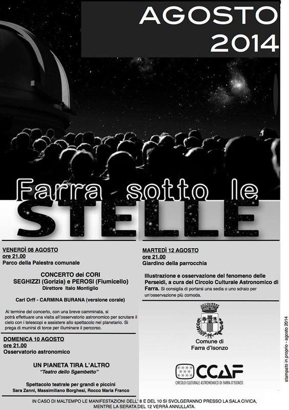 PERSEIADI, STELLE D'AGOSTO: SI AVVICINA LO SPETTACOLO NEI CIELI.  Dall'8 al 12 Agosto, appuntamento a Farra d'Isonzo con le stelle cadenti.
