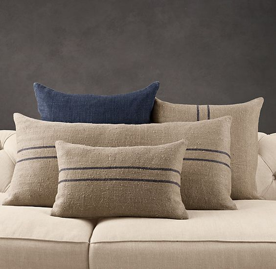 Vintage Stripe Flour-Sack Linen Pillow Collection from Restoration Hardware. Love the texture on ...