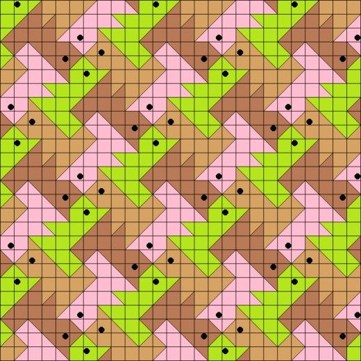 Tessellating squirrel quilt pattern.