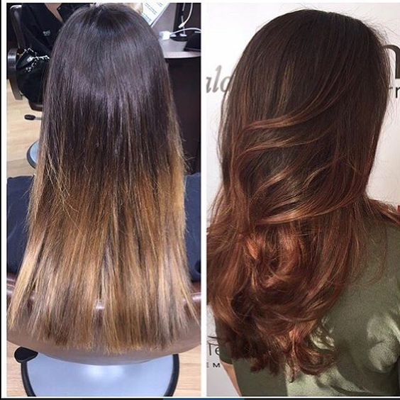 element 1 stylist jen d completely transformed her guest with this creative sensual amber color - Coloration Caramel Dor