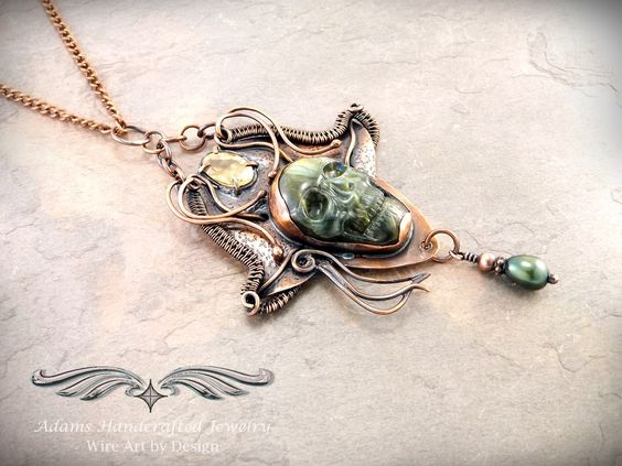 """""""Pirate's Bounty"""" -- Carved Labradorite Skull in Antiqued Copper w/ Faceted Citrine (3 ct) & freshwater pearl dangle. Original design by Daryl Adams. **Currently Available**"""