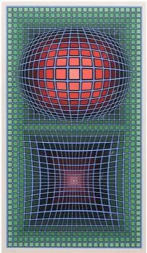 Victor-Vasarely-Composition-in-Green-Red-and-Violet-Serigraph