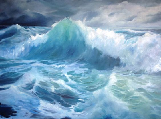 ocean,sea waves contemporary art by Nancy Lajeunesse