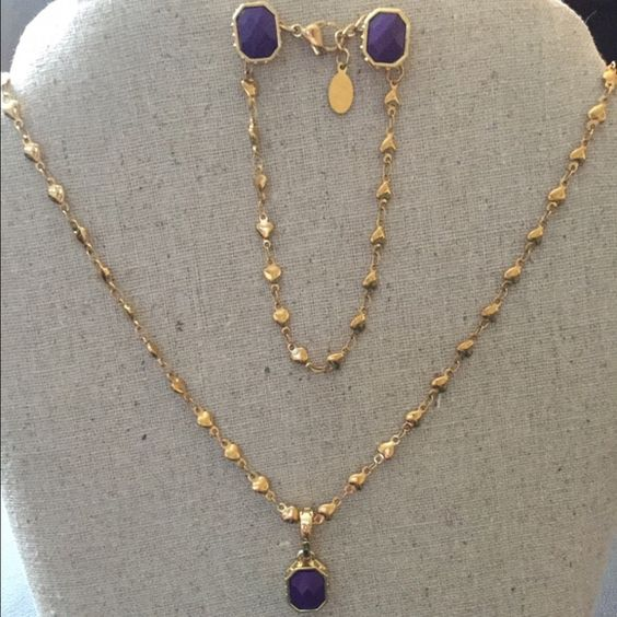 South Hill Designs necklace, bracelet & earrings Gorgeous gold heart chain with purple stone, matching bracelet and earrings! New in box!  no 1/2 off South Hill Design Jewelry Necklaces