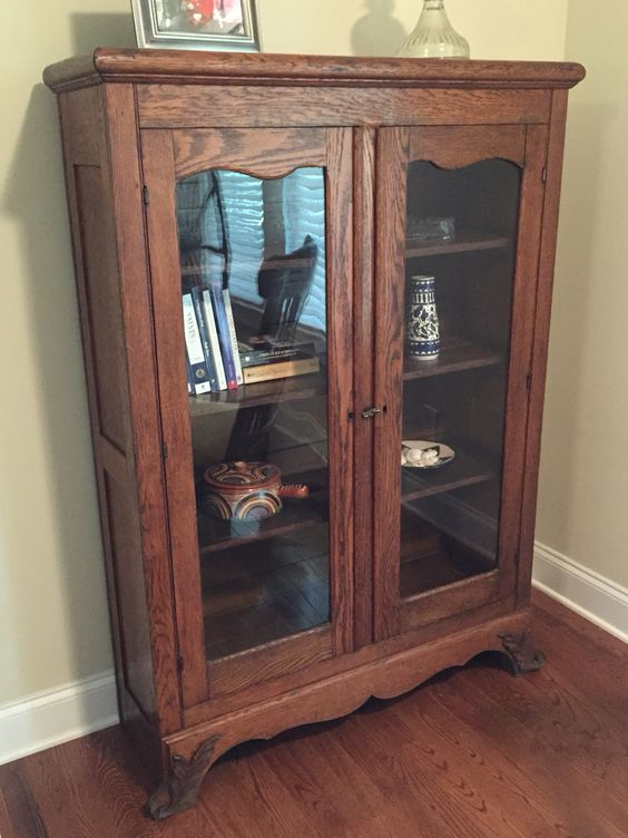Oak glass-front bookcase from farm