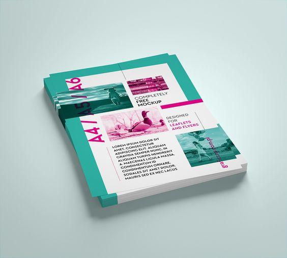 Free vertcial leaflet mockup set