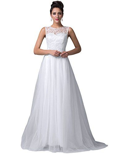 Grace Karin® Women's Pure White Lace Tulle Wedding Dress  $55.86: