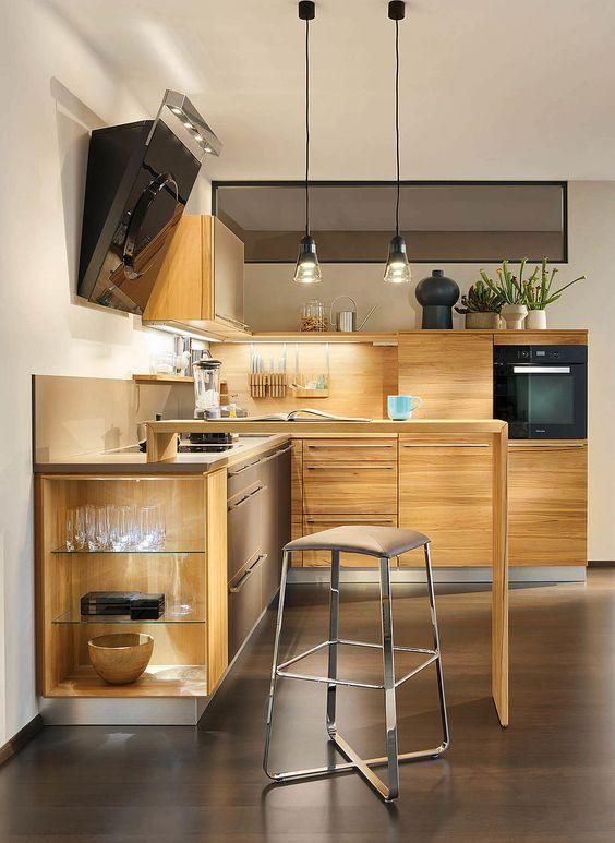 cucina l1 con bancone in legno naturale