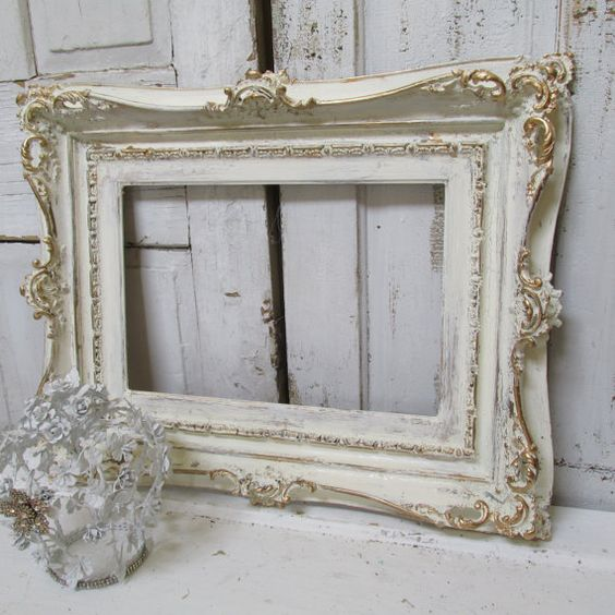 Large Ivory Ornate Frame Hand Painted Wood Distressed