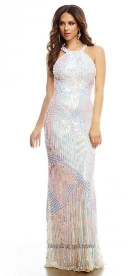 Iridescent Sequin Halter Prom Dress by Mac Duggal #edressme