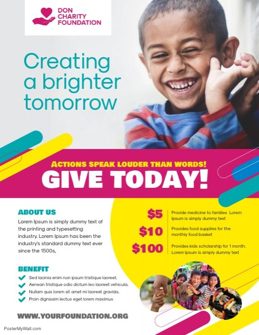 Charity Donation Flyer Poster Template Charity Event Poster