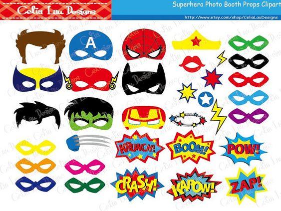 Superhelden enthält Photo Booth Props Digital Clipart 34 niedliche Grafiken.  Besuchen Sie für weitere Superhelden Photo Booth Requisiten bitte: