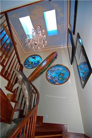 Staircase Ocean THeme Stained Glass Porthole WIndow House Oceanside CA