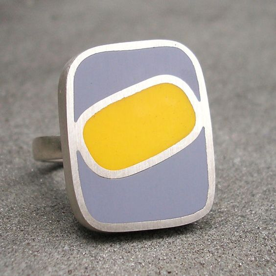 Grey Yellow Resin Ring  Sterling Silver and Resin by lsueszabo, $155.00