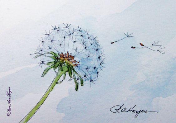 Dandelion In The Wind Print of Watercolor Painting от RoseAnnHayes, $17.00:
