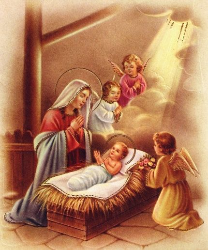 Holy Family Admires Jesus Nativity Religious Christmas: Vintage Christmas Card Angels Mary And Baby Jesus By