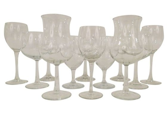 Mismatched Stemmed Wine Glasses, S/12 $129