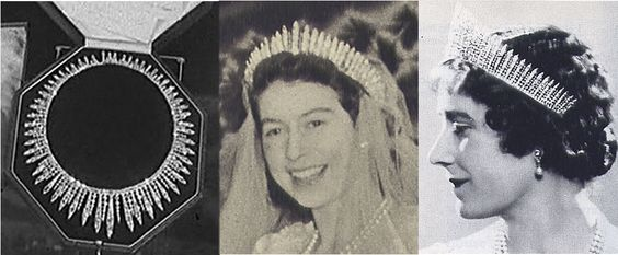 In the next, left to right are the Queen's City of London Necklace, then Queen Mary's Fringe Tiara twice.