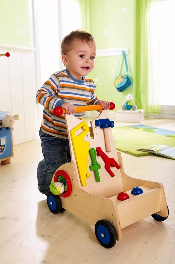 Wooden Toys For 1 Year Olds : Perfect wooden walker for a year old who is starting to