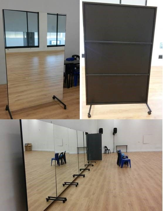Portable Dance Studio Mirrors Turn Them Around To Act As Flats How Great Are These Home Dance Studio Dance Rooms Dance Studio Design