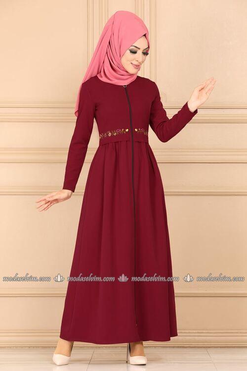 Modaselvim Ferace Beli Nakisli Ferace Ukb5080 Bordo Abaya Dress Long Sleeve Dress Fashion