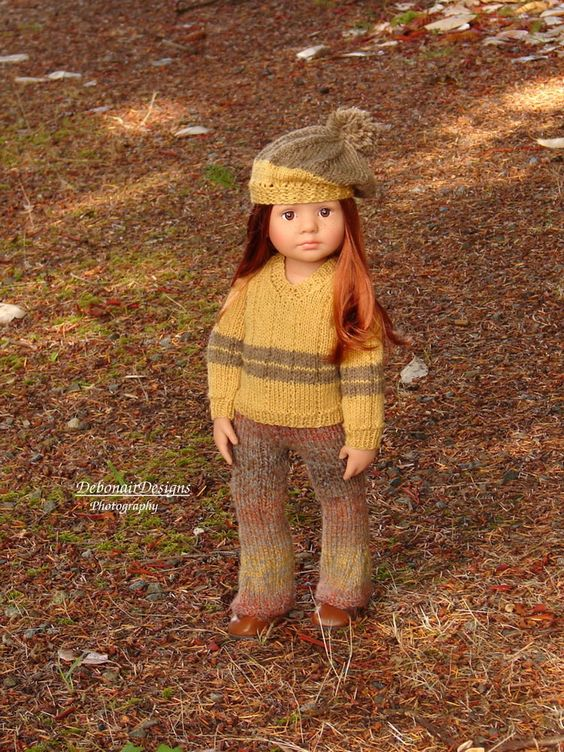 OOAK HandKnit Sweater/Beret/Jumpsuit set for Gotz Kidz dolls by Debonair Designs…