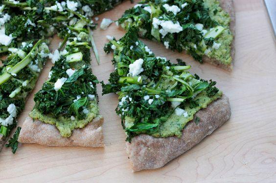 green goddess pizza with broccoli stem pesto