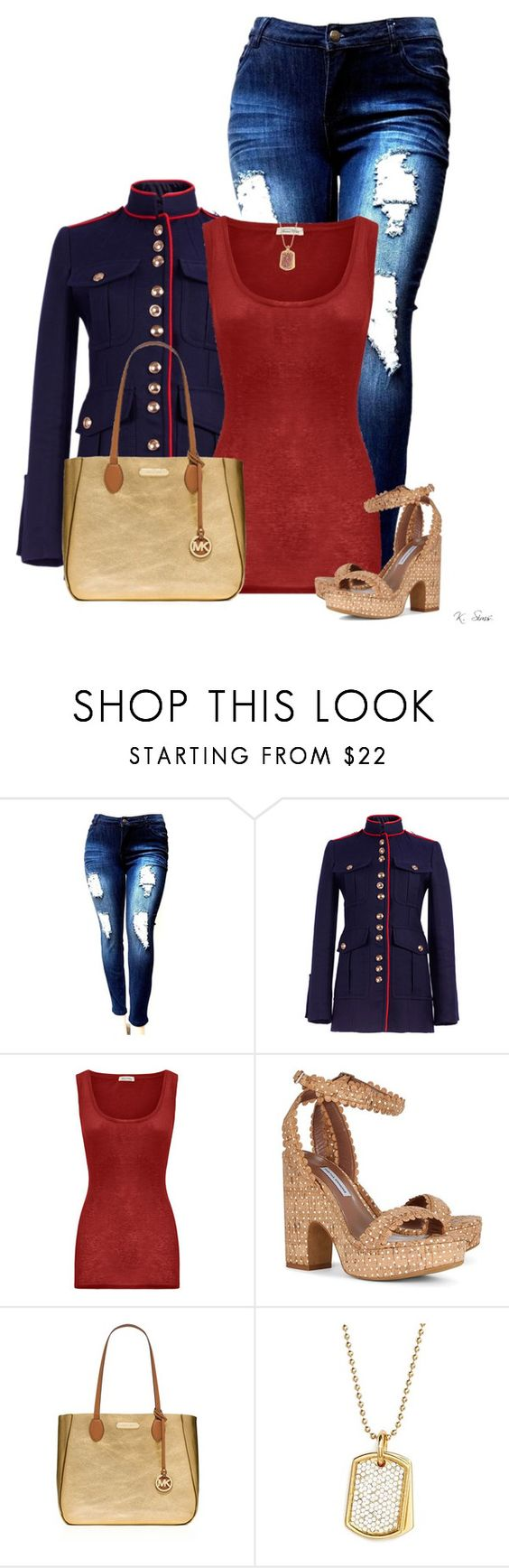 """Love this jacket"" by ksims-1 ❤ liked on Polyvore featuring Burberry, American Vintage, Tabitha Simmons, MICHAEL Michael Kors and Stella Valle"