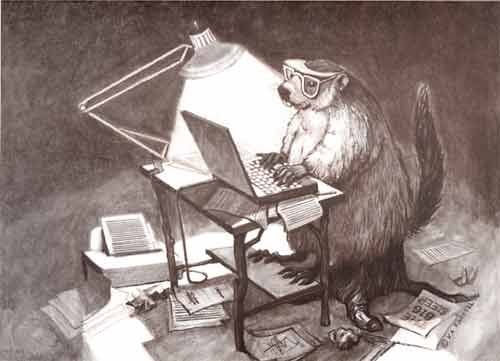 "Groundhog geek, working at his computer. Probably posting a critique of the film, ""Groundhog Day"" (1993). Art by Karen Farrell. On one level, Groundhog Day is a festival that concerns, of all things, weather -- or, more specifically, how much more bad weather we can expect before spring. But on a deeper level, it's offers a coping mechanism for the winter weary. Explore my musings on groundhogs and Groundhog Day here: http://landscaping.about.com/cs/pestcontrol/a/groundhog_day.htm:"