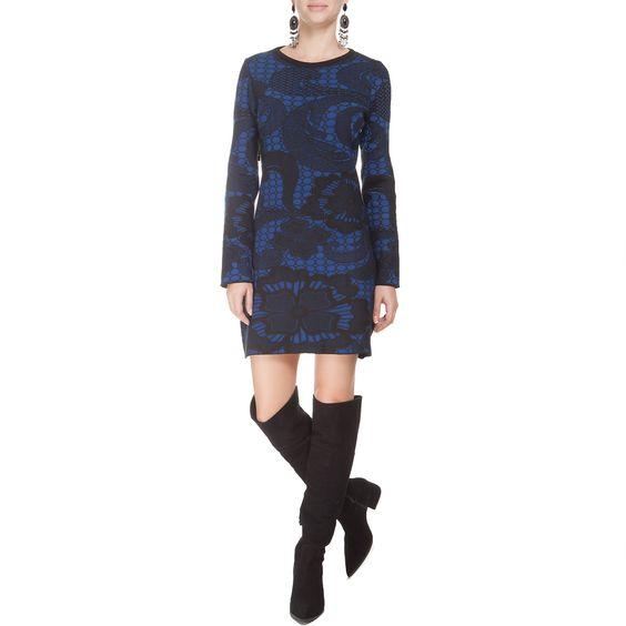 MARKET 33 - Vestido Market 55 jacquard floral - preto e azul