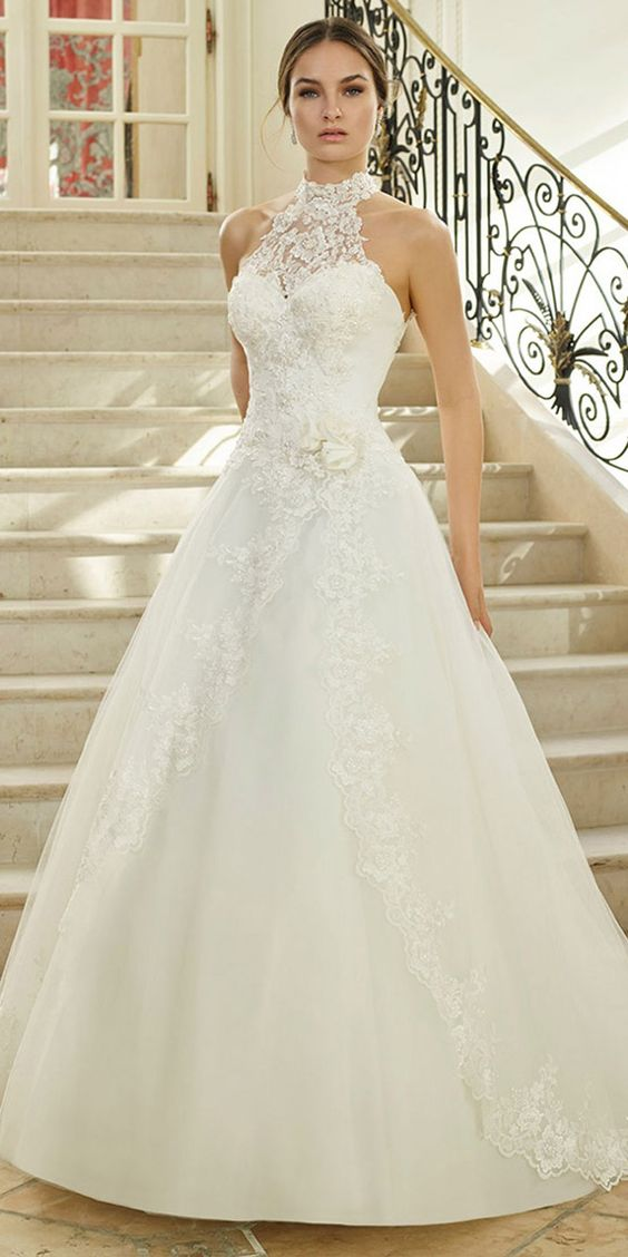 Wonderful Tulle Illusion High Collar Natural Waistline A-Line Wedding Dress With Beaded Lace Appliques & Handmade Flower