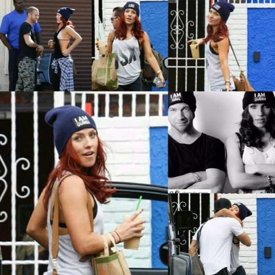 """Dancing With The Stars (DWTS) pro Sharna Burgess rocking Gratitude Couture's anti-bullying """"I AM Queen"""" beanie."""