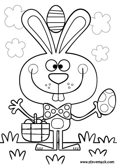 Steve Mack Illustration - Easter bunny colouring page: