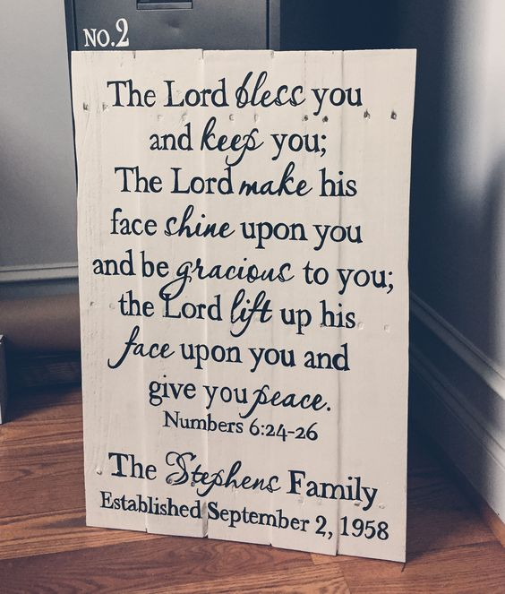 """Our """"The Lord Bless You {Medium Family Piece}"""" measures approximately 28""""X18""""-20"""""""" and is available in your choice of stained or painted wood. Please make your selection from the drop down menu above. This piece is also available in our standard large {36""""X22-24""""}    OGDS pieces come ready to han..."""