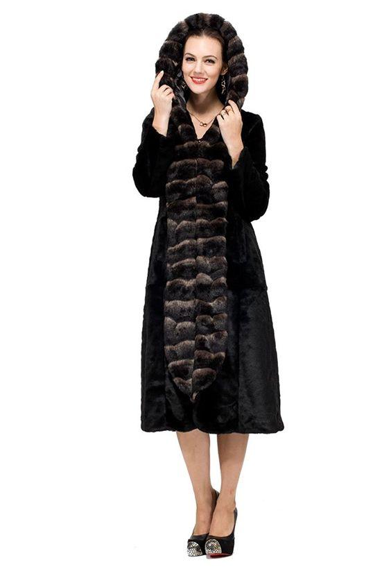 Adelaqueen Women&39s Sheared Mink Faux Fur Coat Hooded With Faux