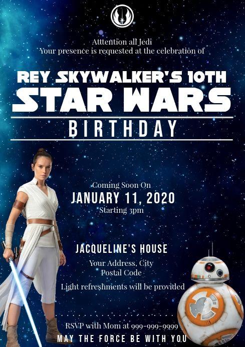 Template Star Wars Birthday Birthday Invitations Star Wars Birthday Birthday Invitation Templates